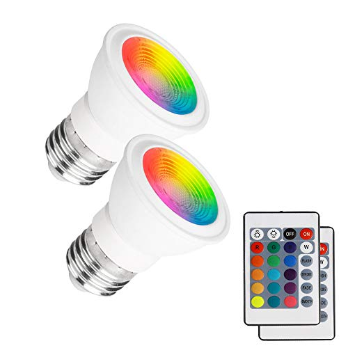 (Pack of 2) Mini LED Spotlight E27 3W RGB Light Bulb Christmas Decoration Lamp 16 Colors Changing 85V- 265V with IR Remote Controller Lampada Holiday Lighting Decorative Night Light