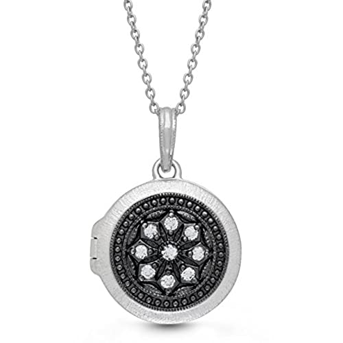 top Oxidized-Sterling Silver-White Topaz-Round-Custom Photo Locket Necklace-The Roxy by With You Lockets