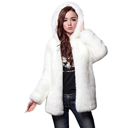 JESPER Women Winter Faux Fur Coat Cashmere Imitation Mink Fur Ling Coat with Hooded White ()