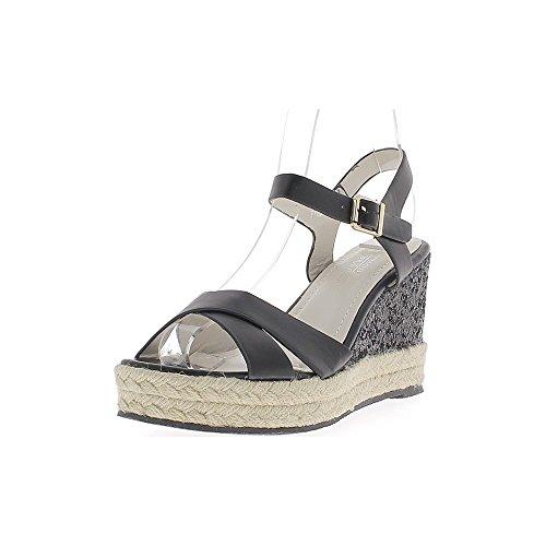 Zapatillas de cuña negro 9cm efecto talón brillo