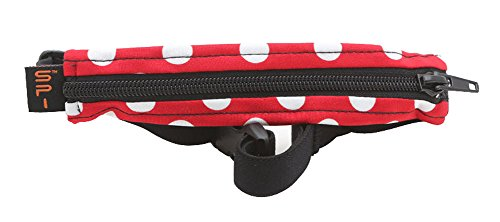 SPIbelt Kids No-Bounce Belt with Hole for Insulin Pump, Medical Devices or Headphones for Active Kids! (Red and White Polka Dot with Black Zipper)