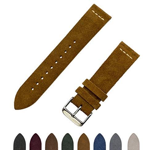 Benchmark Straps Tobacco (Light Brown) Suede Leather Watchband | 18mm, 20mm & 22mm (20mm, Light Brown)