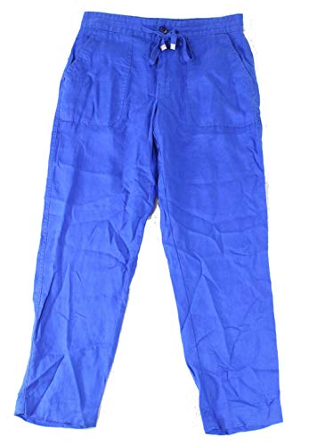 (Lauren by Ralph Lauren Womens 2X28 Linen Drawstring Pants Blue 2)