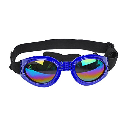 CarBoss Dog Sunglasses Pet Goggles Foldable UV Protection Eye Wear Fashion Toys Pet Sun Glasses with Adjustable Strap - Perfect Fits Over 15 Pounds Medium and Big Sized Dogs Colorful - Sun Sunglasses Wearing