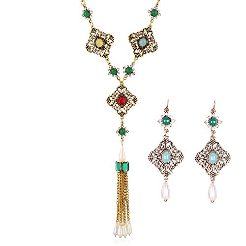- JUST N1 Vintage Copper Plating Turquoise Long Bohemian Necklace Earring Jewelry set