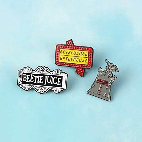 3pcs//set Horror Terror film PinBeetlejuicecomedy Tombstone Enamel brooches Lapel Pin denim Funny Jewelry Gift for friend fans Xennos Brooches