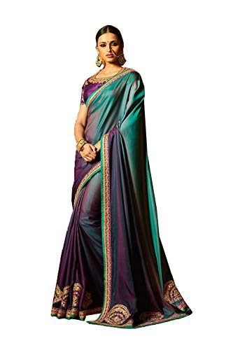 Indian Sarees for Women Designer Party Wear Traditional Purple Sari.