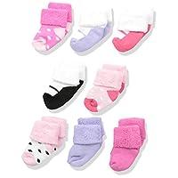 Luvable Friends Unisex 8 Pack Newborn Socks, Pink Shoes, 0-6 Months