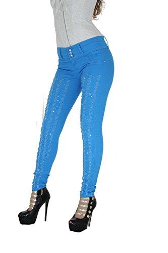Vaqueros Azul Verano push up Skinny Jeans Efecto Wonder Súper Pitillo Vaquero Estilo Colombiano Shape Up Azul Verano