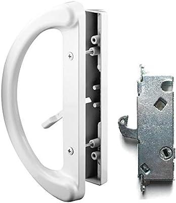 Essential Values - Juego de manijas para puerta de patio + cerradura de muesca 45°, ajuste perfecto, 2 manijas, color blanco, repuesto para puertas correderas con 3 – 15/16 pulgadas de espacio