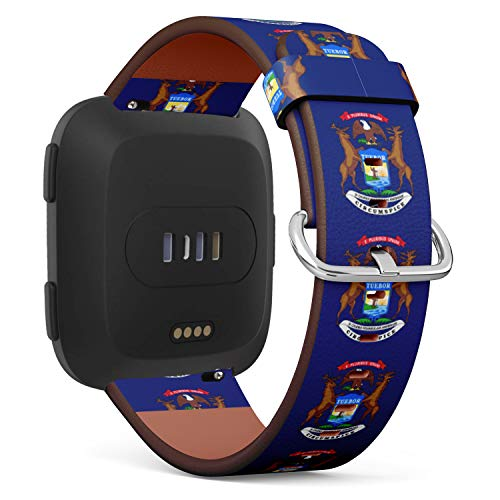 (State Flag of Michigan) Patterned Leather Wristband Strap Compatible with Fibit Versa,Replacement for Versa Watch Band ()