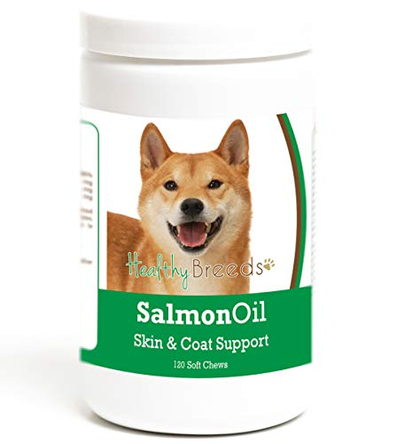 Healthy Breeds Dog Omega 3 Bites for Shiba Inu - Over 200 Breeds - Reduce Shedding - Easier Than Capsules & Pumps - 120 Chews