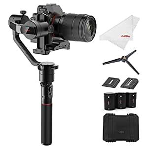 MOZA AirCross 3-Axis Gimbal Stabilizer for Mirrorless Camera up to 3.9 Lb, Auto-Tuning, Time-lapse Shooting, 12Hrs Run-time i.e. Sony A7SII, Pana GH3/4/5