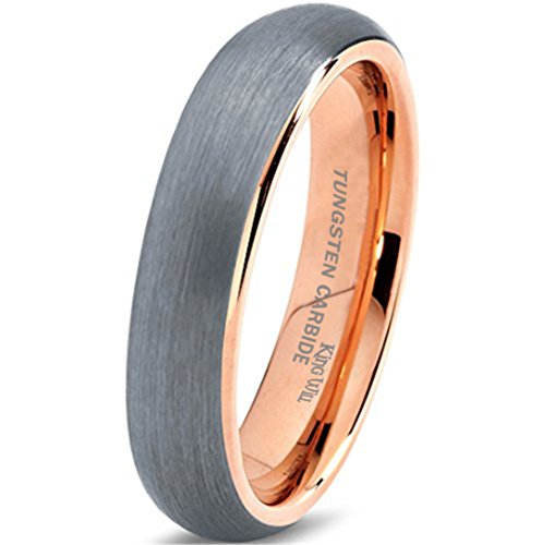 King Will Tungsten Carbide Wedding Band Ring 6mm 18K Rose Gold Plated Dome Brushed Comfort Fit 9.5
