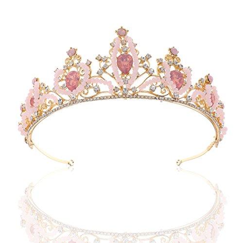 (Barogirl Gold Wedding Crown Pink Rhinestones Bridal Tiaras Princess Beaded Hair Accessories for Women and Girls)