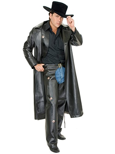 Charades Men's Faux-Leather Range Rider, Black, Medium -