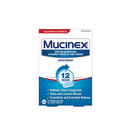Chest Congestion, Mucinex Maximum Strength 12 Hour Extended Release Tablets, 14ct, 1200 mg Guaifenesin with extended relief of  chest congestion caused by excess mucus, thins and loosens ()