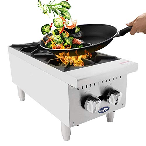 ATOSA US Two Burner Commercial Hot Plate Countertop Stove Outdoor Camping Double Portable Cooktop Propane Burner Restaurant Equipment ATHP-12-2 HD 12