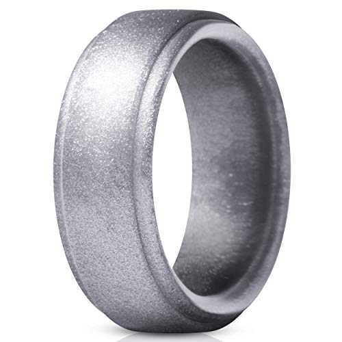 ThunderFit Silicone Ring for Men - Rubber Wedding Band - 1 Ring (Silver, 15.5-16 (24.5mm)) (Best Wedding Anniversary Gifts For Men)