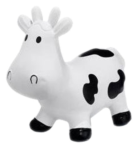 Trumpette Howdy Cow Kids Inflatable Bouncy Rubber Hopper Ride-On Toy White by Trumpette (Image #1)