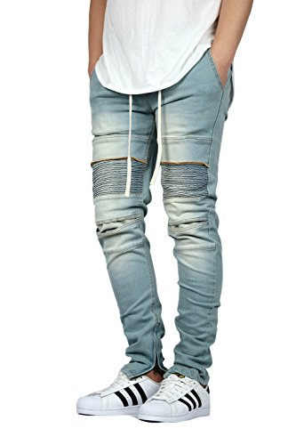 KDNK Men's Stretch Ankle Zipper Biker Denim Jogger Pants - 2 Colors