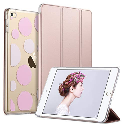 ULAK iPad Mini 4 Case, Mini 4 Case, Lightweight Slim Smart-Shell Stand Cover with Auto Wake/Sleep Function for Apple iPad Mini 4 7.9 inch 2015 Release Tablet, Rose Gold