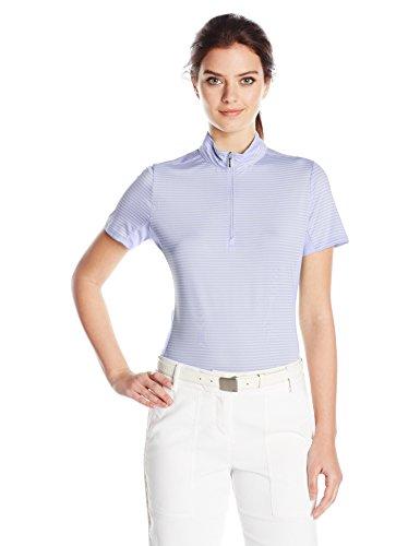 Cutter & Buck Women's Moisture Wicking, UPF 50+, Short-Sleeve Striped Kelsey Zip Mock Shirt, Iris L