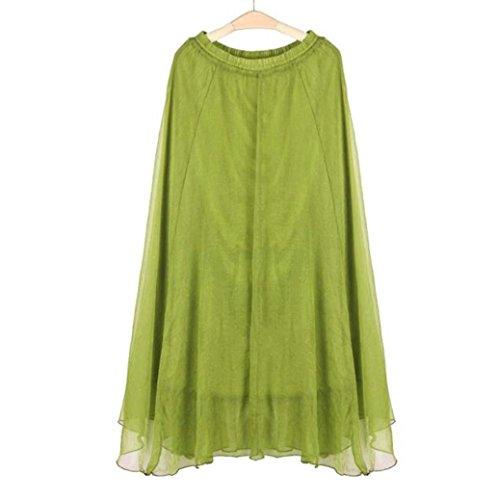 de vert Mousseline Robe de Toamen femmes Vert plage elastique maxi en jupe soie de robe clair Longue mousseline Femmes Taille plage Jupe nBHxO4