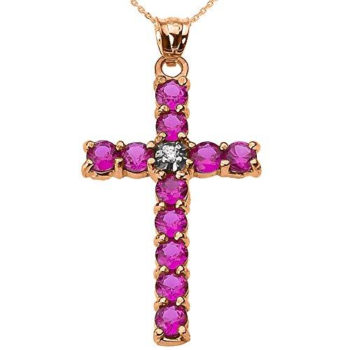 Collier Femme Pendentif 10 Ct Or Rose Diamant et Rouge Oxyde De Zirconium Croix (Livré avec une 45cm Chaîne)