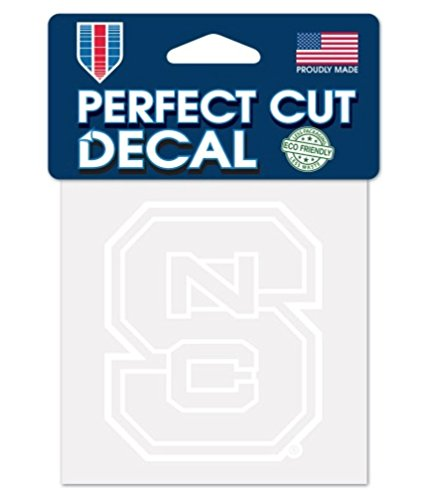 NCAA North Carolina State Wolfpack 4x4 Perfect Cut White Decal, One Size, Team Color