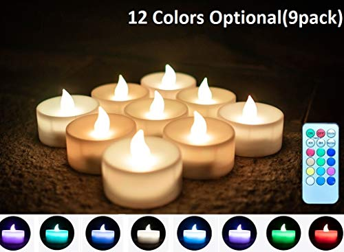 Color Changing Flameless Tea Lights Candles with Timer and Remote, Led Tea Lights Battery Operated Votive Candales Flickering, Great for Party Birthdays Weddings Gifts and Home Decor Pack of 9 (Tea Timers With Lights)
