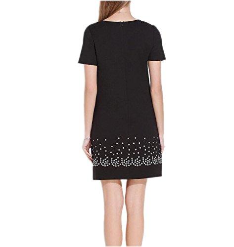 Ebene Abend Kleid Black HGDR Kurzes Rundes Kleid Frauen Eine Stickerei Kleid Elegantes Einfach Linie Baumwolle Partei Lose Sommer Kurzhülse Ansatz q6f1t