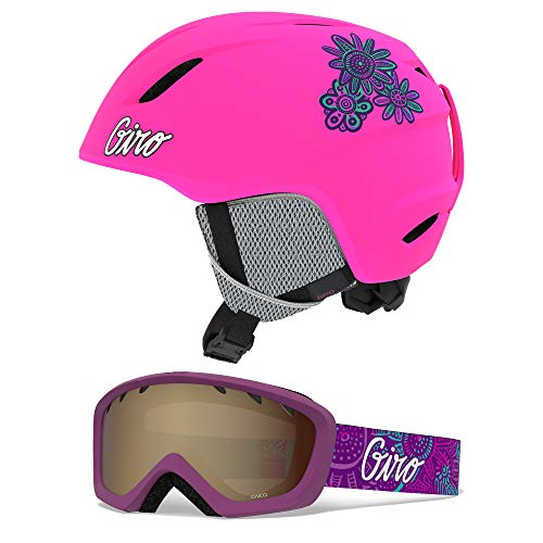 Giro Launch Kids Snow Helmet Goggle Combo Matte Bright Pink/Psych Blossom XS (48.5-52CM) Helmet 7104864 Goggle 7094582