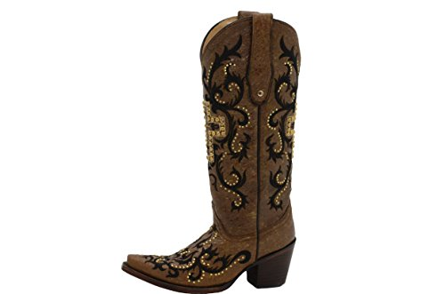 Corral Boots C2866 Tan / Black Gold Studded Cross Tall Top