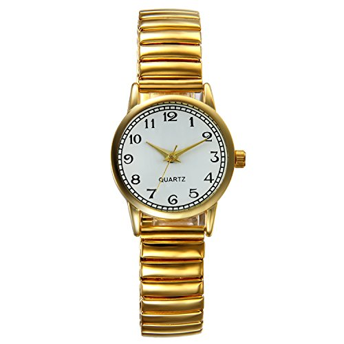 Face Expansion Watch Band (Lancardo Laides Big Arabic Numerals Small Face Gold Tone Flexible Expansion Metal Band Wrist Watch)