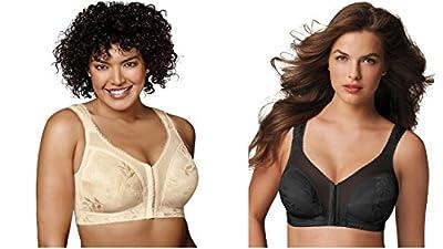 Playtex 4695 Women's Front-Close Bra with Flex Back 1 Black + 1 Light Beige 38B