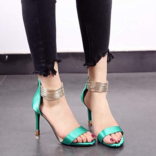 high fashion high sandals satin toe open heels Summer banquet stiletto YMFIE green heel shoes sexy party 1nWBgOp