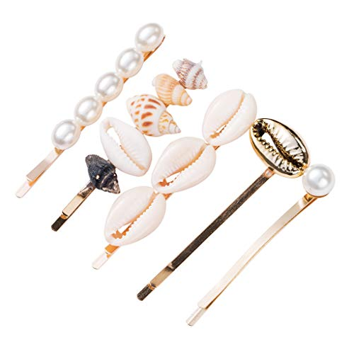 Pearl Hair Clip for Women Girls - 5Pcs Shell Hair Clip Hair Barrettes Artificial Shell Pearl Hair Clips for Women and Ladies Hair Accessories