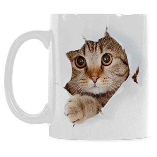 InterestPrint 11 Ounce White Ceramic Funny Cat Looking From