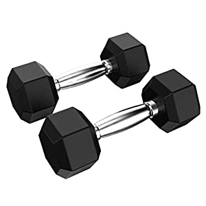 Sayhi Barbell Set Of 2 Hex Rubber Dumbbell With Metal Handles Exercise & Fitness Dumbbells Neoprene Hand Weight (A)