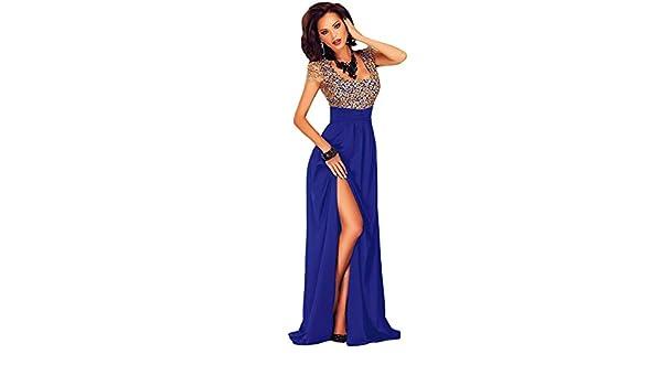 Gabriela`s Boutique - Vestido de mujer (con lentejuelas, para fiesta o baile, largo, espalda descubierta, talla M, 38-40), color azul y dorado: Amazon.es: ...