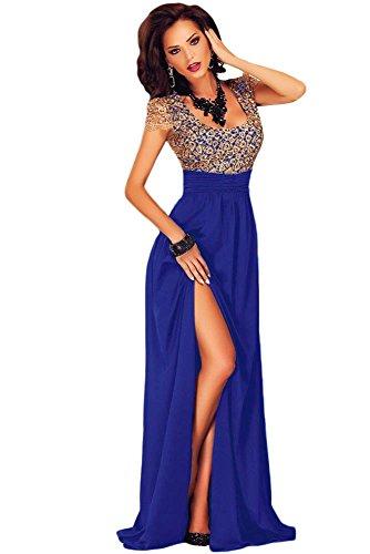 Élégant Mesdames Long Bleu et Or dos ouvert Robe de soirée cocktail party Dance Club Wear Taille M UK 10–12–EU 38–40