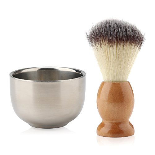 Beard Lather Brush, Beard Shaving Soap Bowl, Segbeauty Nylon Bristles Hair Natural Crude Wood Handle Brush Stainless Steel Cream Bowl for Men, Traditional Wet Shaving Kit by Segbeauty
