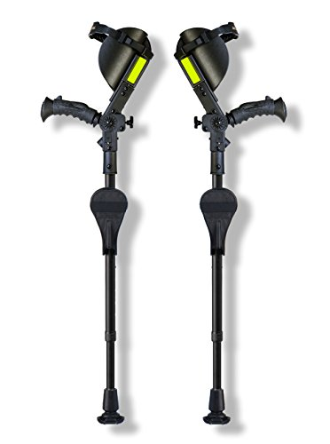 Crutches- Ergobaum Juvenile Crutches. Adjustable (3'9 to 5') & Fully Ergonomic for Extra Comfort. Newest 3rd Generation. Smaller Cuff to Properly Adjust to the Forearm. (Black) by Ergoactives by Ergoactives