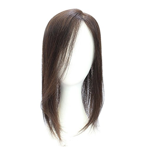 Remeehi 15'' Straight Hand Tied Real Human Hair Toppers Top Pieces Closure for White and Thinning Hair (Reddish Brown) by Remeehi