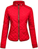 NE PEOPLE Womens Lightweight Quilted Zip Jacket,Newj22-red,Small