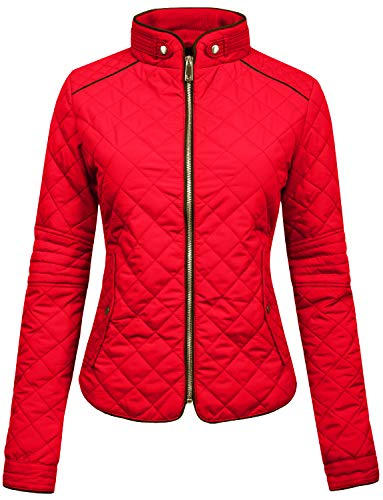 - NE PEOPLE Womens Lightweight Quilted Zip Jacket,Newj22-red,Small