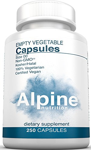 Alpine Nutrition Empty Veggie Capsules Size 00 - 100% Natural Vegetarian - Use with Supplements , Herbs & Essential Oils - 250 Capsules