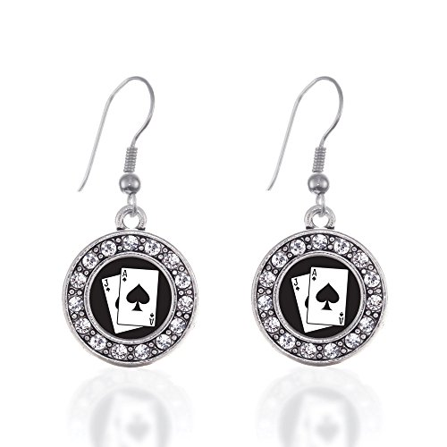 Inspired Silver - Blackjack Charm Earrings for Women - Silver Circle Charm French Hook Drop Earrings with Cubic Zirconia Jewelry