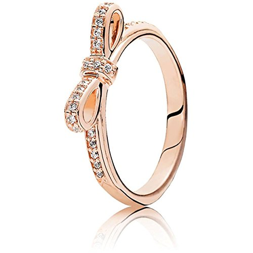 Pandora Women's Sparkling Bow Ring, Rose, Size 48 Jewelry 180906CZ-48 (Bow Pandora Ring)
